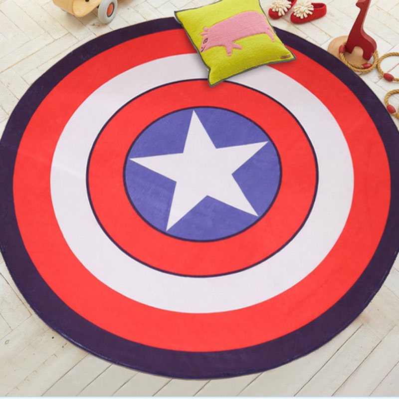 2019 NEW Hot Cute Cartoon Round Carpet Non-Slip Multi 5 Colors Living Room Kids Room Rug Captain America Mat For Bedroom