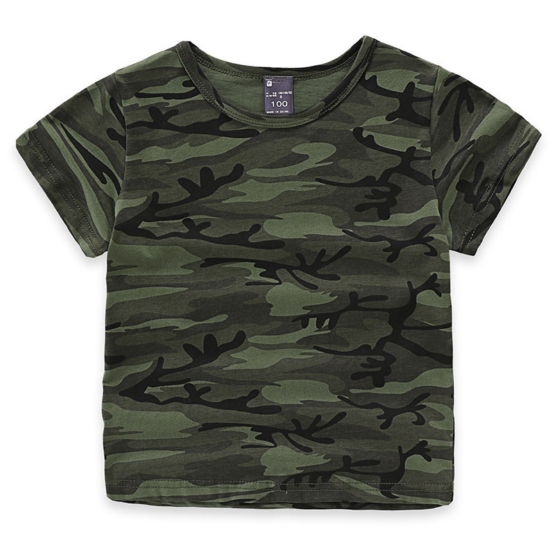 Children's Kids Boys Army T-shirt Camouflage Short Sleeves Casual Summer Top