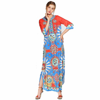 Large Size Women S Clothing New Retro Colorful Printed Long Dress 170606ZX01