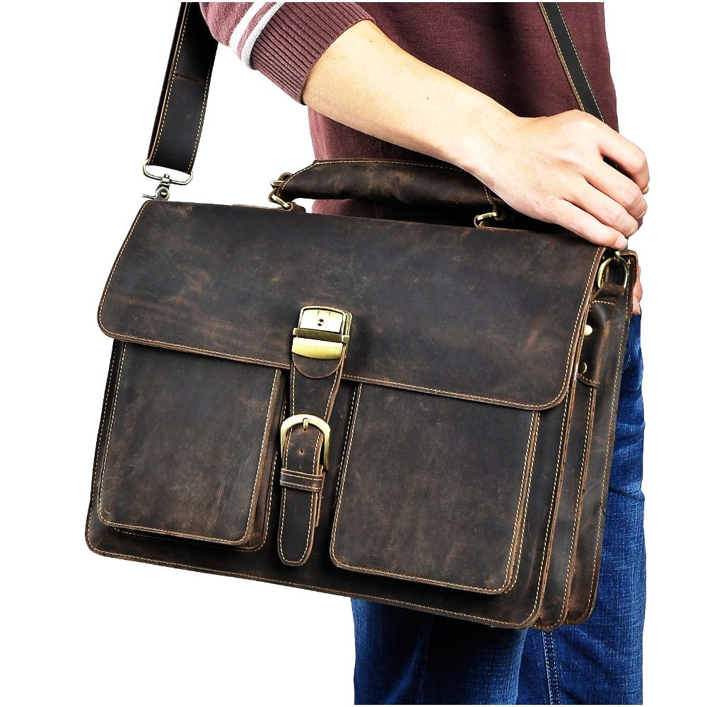 Men Quality Leather Large Capacity Business Briefcase 15.6