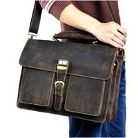Men Quality Leather Large Capacity Business Briefcase 15.6 Laptop Case Attache Portfolio Bag One Shoulder Messenger Bag 1031