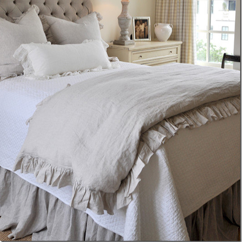 2018 French Ruffled Linen Duvet Cover King Size Flax Linen Bedding