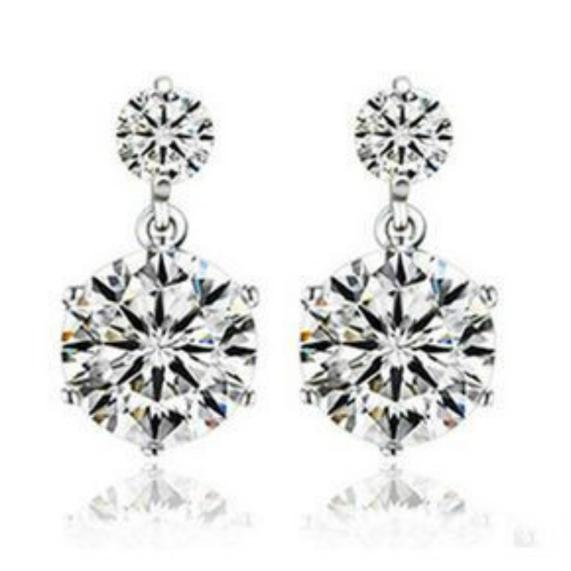 Wholesale Fashion Jewelry Silver Plated Crystal Round Ear Stud Earrings Ear Rings Pendant