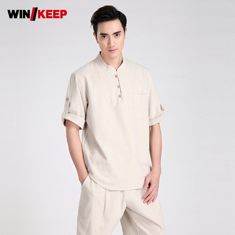 Summer Men Breathable Cotton Linen Judo Sportswear Set Martial Arts Chinese Kung Fu Wushu Uniform Short Sleeve Tai Chi Tracksuit