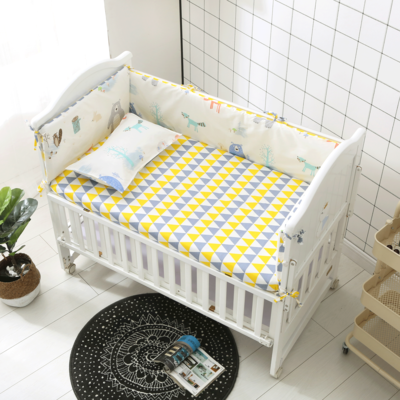 Promotion! 6PCS Bear Baby Girl Bedding Set Nursery Bedding Cot Crib Bedding , Include(4bumpers+sheet+pillow Cover)
