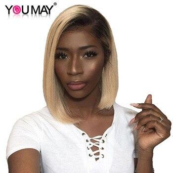 1B 613 Bal Sarışın Kadınlar Için Dantel Ön Peruk Ile Bebek Saç Remy düz insan saçı Peruk Ağartılmış Knot Olabilir