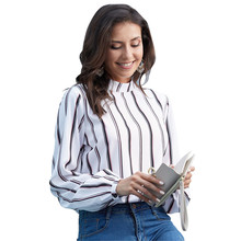 New Women Shirt office Lady 2019 Summer Fashion Tops Feminine Slim Korean Stripe Plus Size