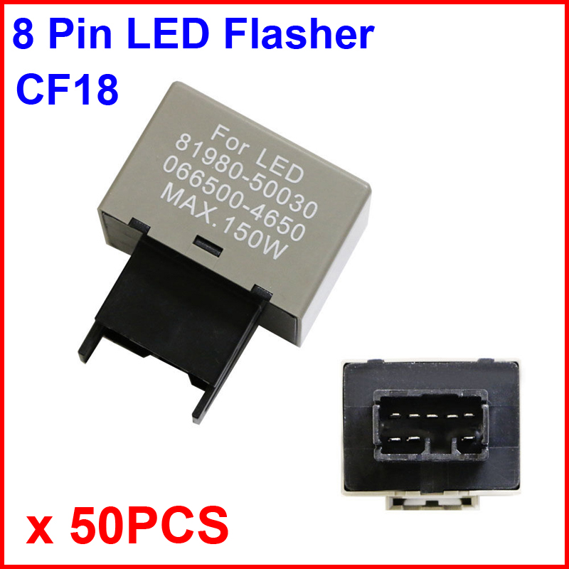 50PCS CF18 LED Flasher 8 Pin Relay Module Fix Auto Motor Turn Signal Light Error Flashing Blink 81980-50030 06650-4650 Max 150W