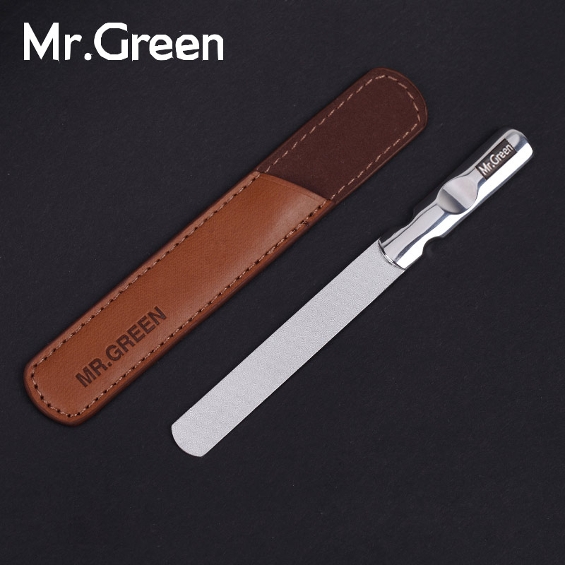 MR.GREEN Impor Profesional dari stainless steel logam nail file Buffer Double Side alat manicure kecil menggosok strip polishing