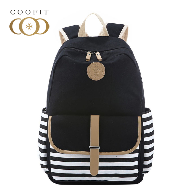 Coofit Stylish Women Canvas Backpack Casual Stripes Printed School Bags For Girl Teenager Black Travel Rucksack Laptop Backpacks yasicaidi 4pcs women canvas backpack cute cartoonprinting backpacks school backpack for teenager girl casual travel bag rucksack