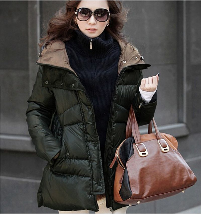 army Taille Veste Green coréen Chaud Long 2015 Mince Femme Nouvelle Noir Grande Canard De Manteau Black L0073 Mode Femmes Parkas Duvet Épais AxRwqP4