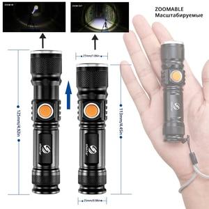 Image 2 - Mạnh Mẽ Đèn LED Với Đuôi Sạc USB Đầu Phóng To Đèn Pin Chống Nước Di Động Ánh Sáng 3 Chế Độ Chiếu Sáng Được Xây Dựng Trong Pin