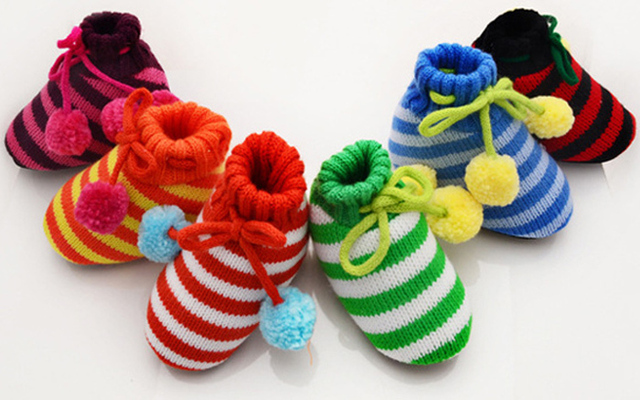 6 farben die streifen Erste Wanderer Häkeln Babyschuhe woolen garn ...