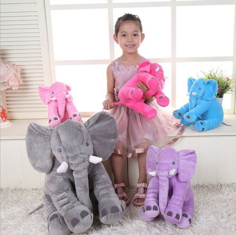 60cm Baby Animal Elephant Style Doll Stuffed Elephant Plush Pillow Kids Toy Children Room Bed Decoration Toys INS  high quality crocodile elephant pillow cute animal shape cotton cushion cartoon baby children pillow kids toy free shipping