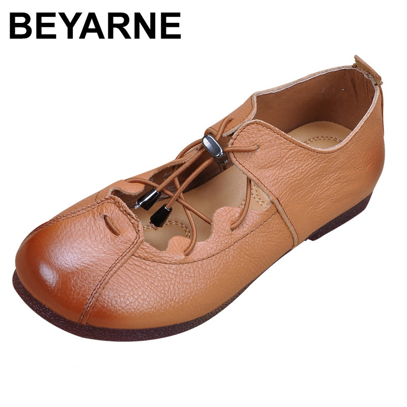 BEYARNE Genuine Leather Flat Shoes Retro Loafers 2018 Fashion Hand-Sewing Casual Shoes Woman Soft Bottom Women shoes 2018 genuine leather flat shoes woman hand sewing loafers spring fashion casual shoes women flats lace up women shoes