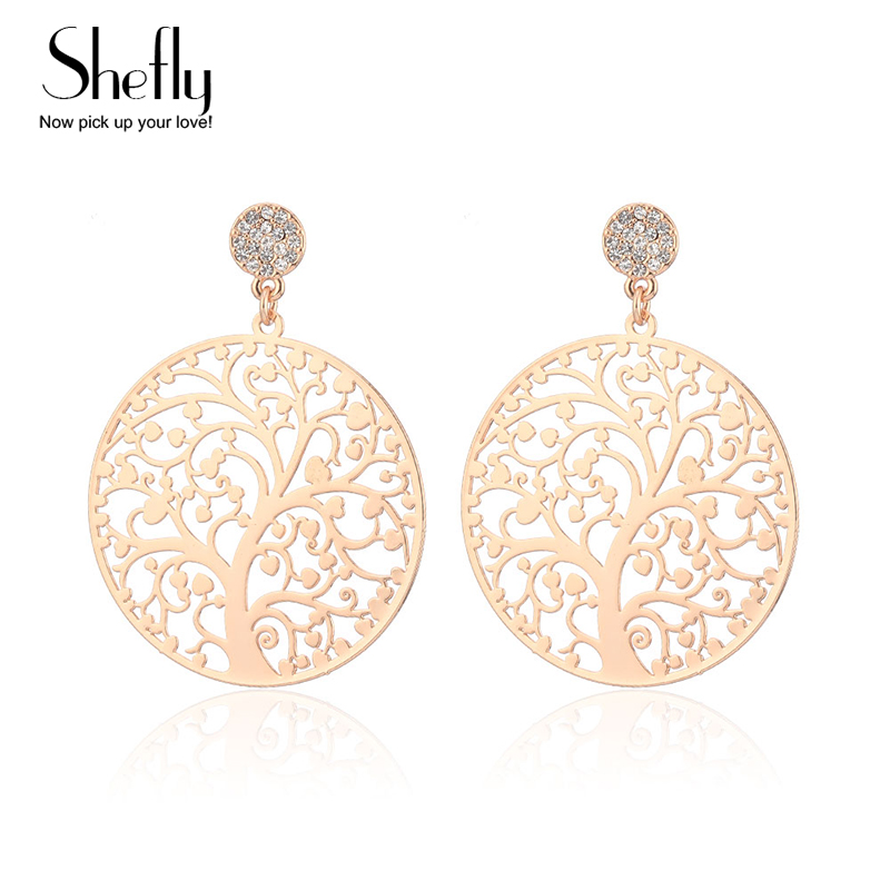 Rose Gold Color Crystal Dangle Earring With Tree Of Life Pendant Vintage Women Jewelry Earrings Brinco EH-0220