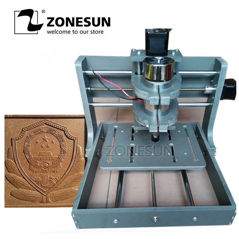 ZONESUN CNC Milling Machine 2020B DIY CNC Wood Carving Mini Engraving Machine PVC Mill Recorder Support MACH3 System