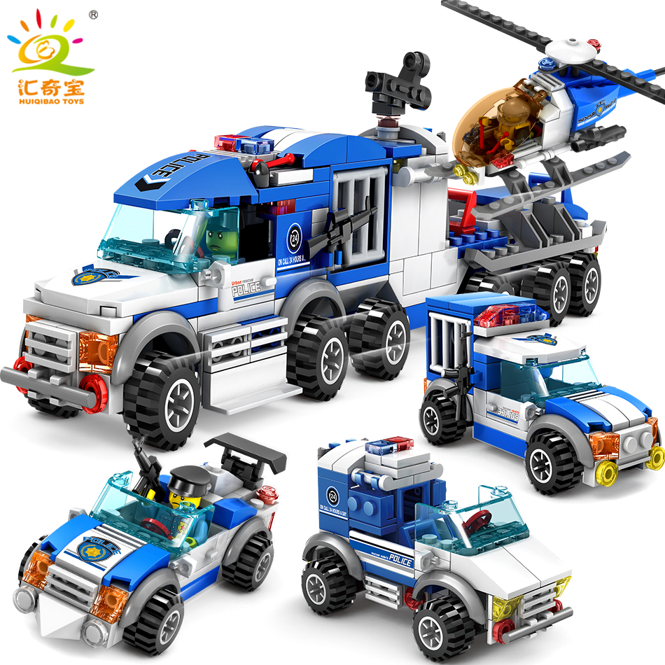 City Police Series Cars Trucks Helicopter Model Building Blocks Set Compatible Legoed City Figures Weapons Toys For Children Boy lepin 40011 882pcs city series police department model building blocks bricks toys for children gift action figures