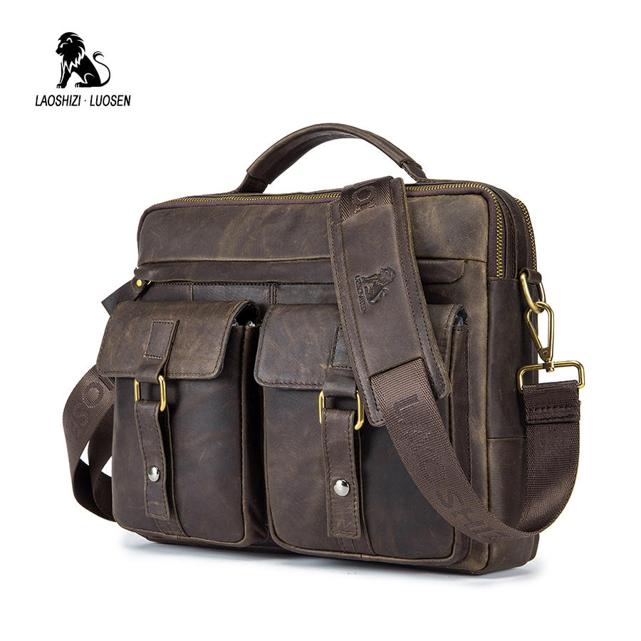 LAOSHIZI LUOSEN Men Handbag Genuine Leather Business Messenger Bag Vintage Men Bag Laptop Shoulder Crossbody Crazy Horse Travel new men vintage crazy horse genuine leather handbag business messenger bag shoulder handbags bag