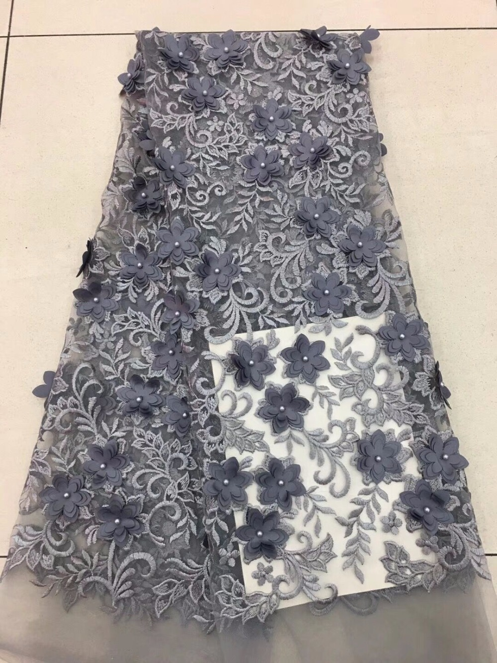 Nice African 3d Flower Lace Fabric 2019 High Quality French Lace Fabric With Stones Embroidery Lace Fabric For Women Dress Dpa30-1 Apparel Sewing & Fabric