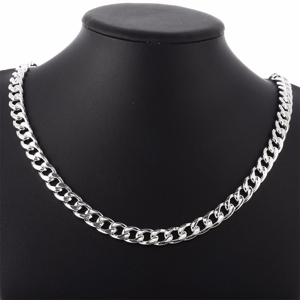 12-925 Sterling Silver Men Jewelry 24 inches Choker Statement Necklaces Women Vintage Collier Colar Bijoux Collares kolye QA0711