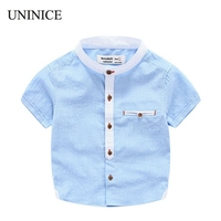 2 Color Boys Clothes Stand Collar Short Sleeved Shirt Summer Baby Boy Button Shirt British Wind