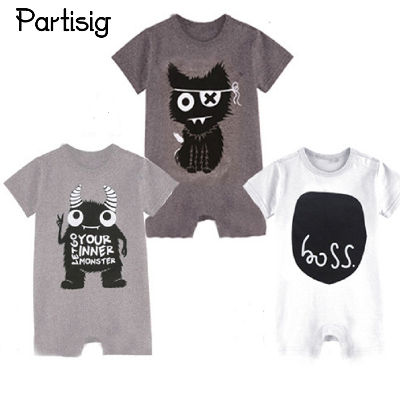 Brand Baby Rompers Cartoon Short Sleeve Cotton Baby Boy Rompers Boss Monster Pattern Sum ...