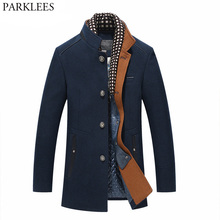 Mens Mandarin Collar Cashmere Coats 2018 Winter New Brand Long Wool Tr