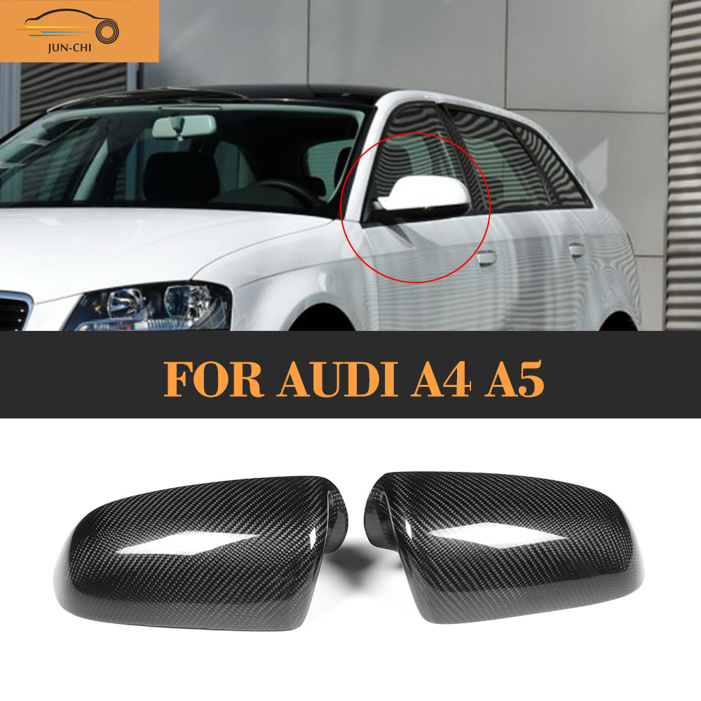 Carbon fiber Car Mirror Covers Caps for Audi A3 8P 8PA 2006 2007 Add On Style Without Side Assist for audi s3 2014 2015 add on carbon fiber mirror covers