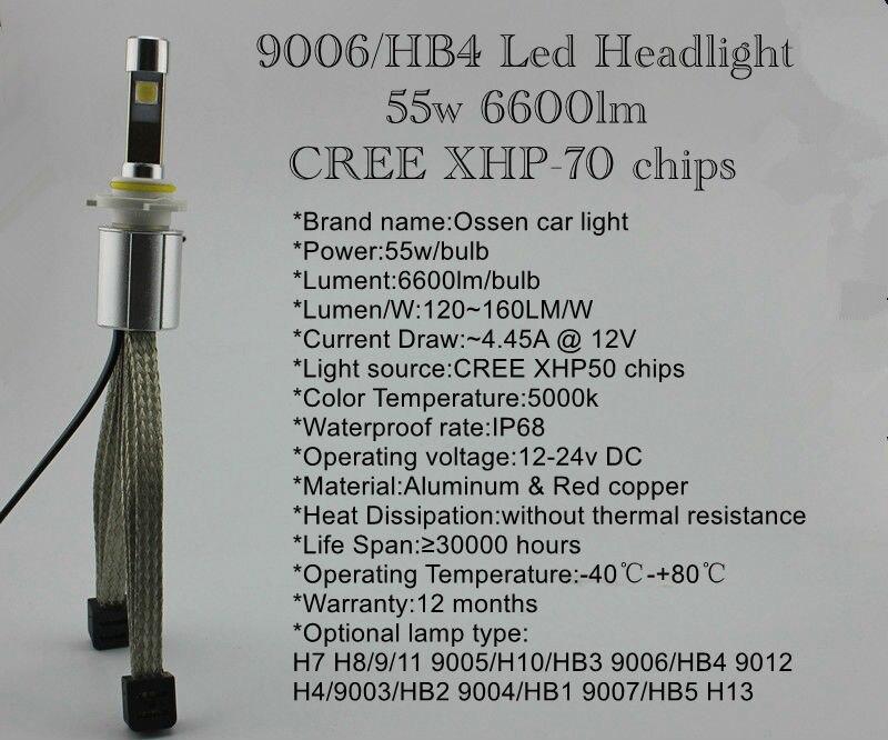 Ossen P70 HB3 9005 55w LED Headlights 5000k 3600lm Xenon White Headlight H4 H7 H8 H9 H11 H10 9006 HB4 9012 9004 9007 Head Lamps 5 9006