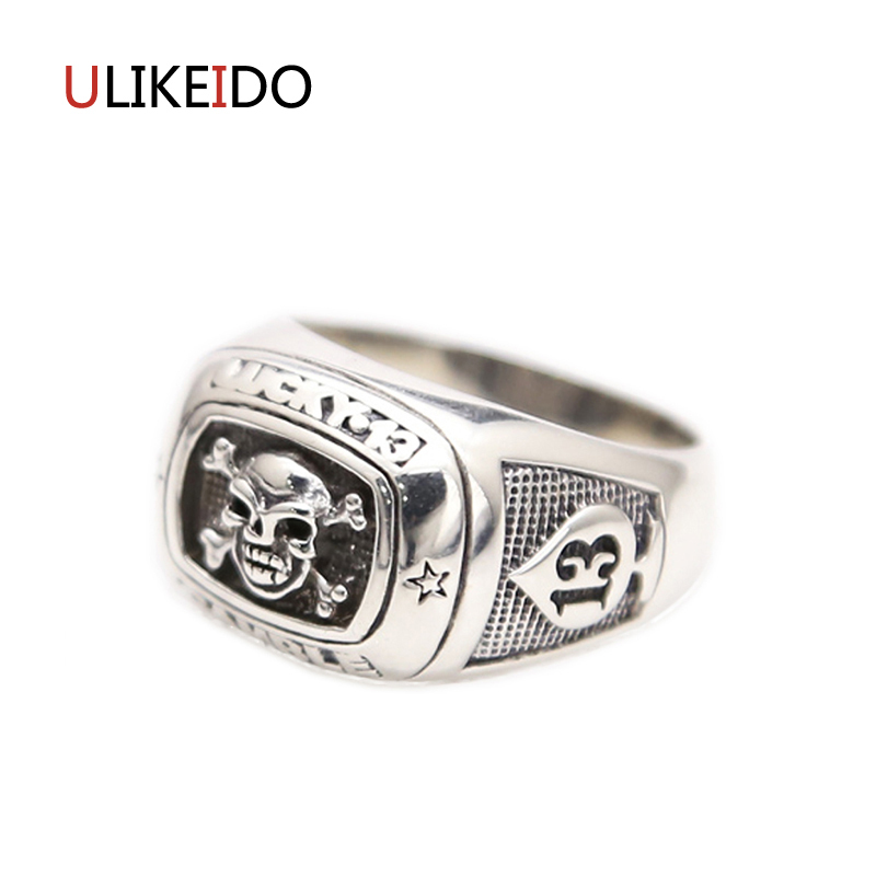 Pure 925 Sterling Silver Jewelry Skull Rings Lucky Fashion Skeleton Punk Pirates of the Caribbean Mens Signet Ring New Gift 287