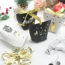New 10pcs gold Merry Christmas bear elk paper Box as Gift Candy Cookie Sweet Packaging party favors gifts DIY use