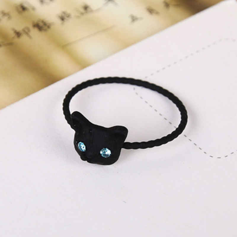 Cute Women Cat Crystal Gift Pussy Hot Golden/Black/Silver Animal Novelty  Chic  1pc Rhinestone Rings