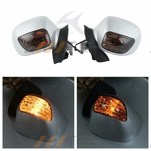 White L&R Rearview Mirrors w/ Amber Signal case for Honda Goldwing GL 1800 2001-2011
