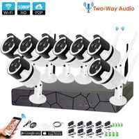 Two-Way Audio1080P Wireless NVR CCTV System wifi 2.0MP indoor Outdoor Bullet IP Camera Waterproof Security Video SurveillanceKit