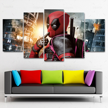 Movie Poster 5 Piece Deadpool Splash Art Painting Modern Canvas  Modular Framework Picture HD Printed Home Decorative Wall Art леска dewalt dt20651 qz 68 6 м диаметр 2 мм