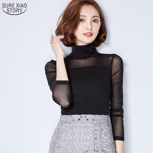The New Fashion 2017 Spring and Autumn Turtleneck Solid All-match Sexy Slim Lace and Blouses Yarn Bottoming Shirt Female 63i 30