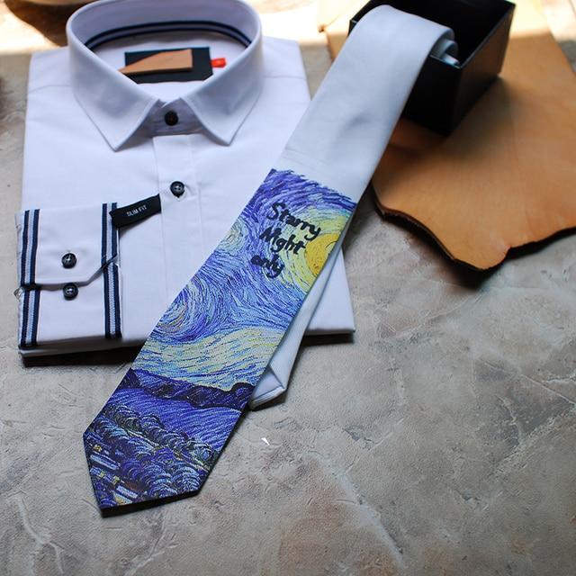 จัดส่งฟรีใหม่ผู้ชายแฟชั่นชาย Man Tie Van Gogh Starry Casual เจ้าบ่าวของขวัญงานแต่งงาน