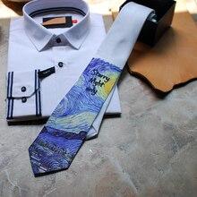 Ücretsiz kargo yeni erkek erkek rahat moda erkek kravat Van Gogh yıldızlı elbiseler rahat damat hediyeler düğün parti