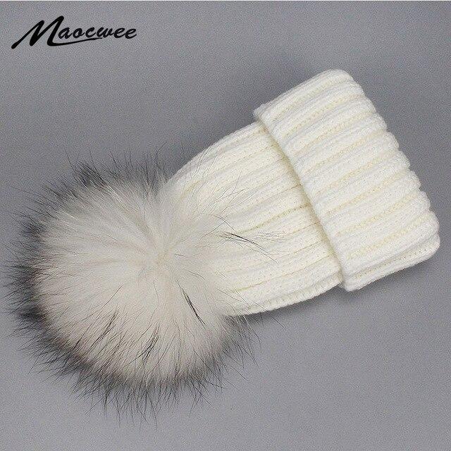 cbf5f2f55f3ef4 Girl Boy Kids Lady Dyeing Colorful Raccoon Fur Pompom Hat Women Winter  Knitted Beanies Cap Hat