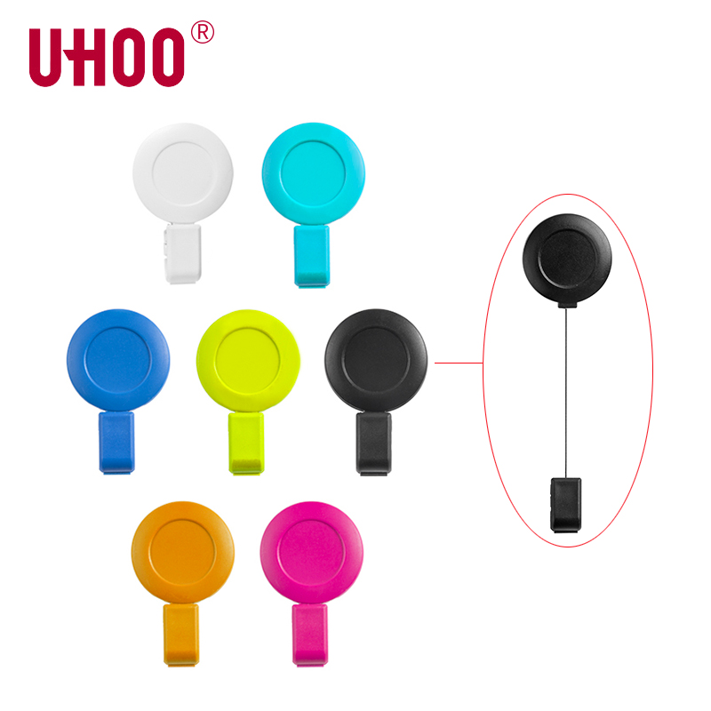 2pcs/lot UHOO 6705 ABS Badge Reel Name Tag Badge Holder Clips Retractable Badge Clips For ID Card Wholesale