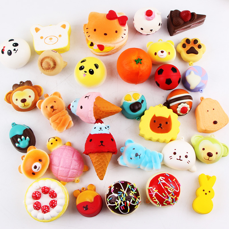 Squishy Slow Rising 10 Pcs/pack Food Squishes Pendant Donut Charm Anti Stress Kawaii Squishies Stretchy Squeeze Toy #2