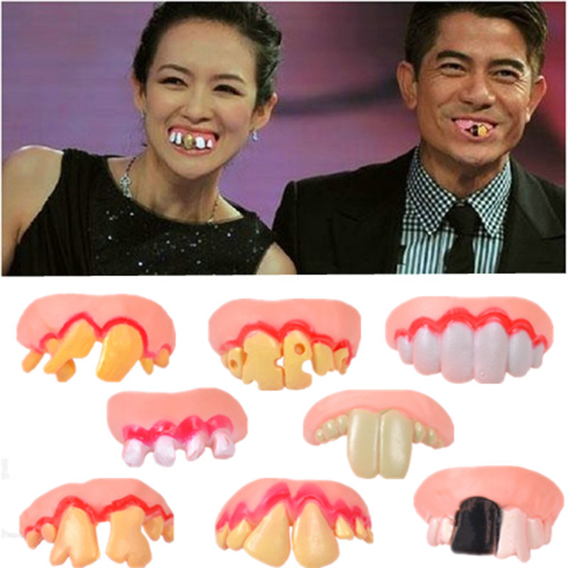Hot Sale 8Pcs Funny Gift Costume Party Ugly Gag Fake Teeth Funny Freaky Front Teeth Comfortable Wearing Party Game Accessory