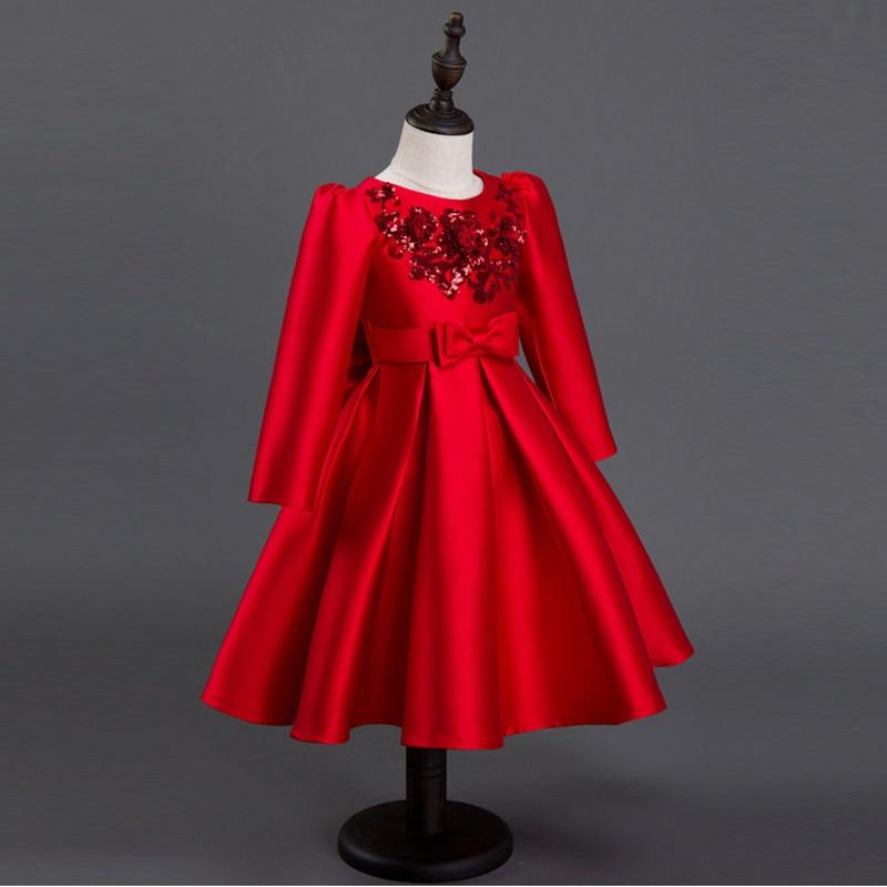 2017 automne Winte mode filles robes rouge fête robe enfants filles robes princesse Costumes filles soirée bal enfants vêtements - 4