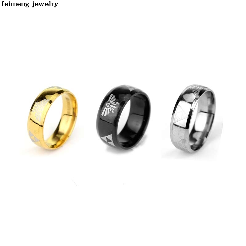 Hot Sale LEGEND Of ZELDA Rings Shiny Gold Mens Tungsten Carbide Wedding Ring For Men Woman Fashion Movie Jewelry Free Shipping
