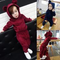 Fashion Baby Girls Boys Clothes New Warm Autumn Winter Soild Bear Caps Hoodies Pants 2PCS Pajamas