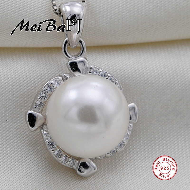 [MeiBaPJ]925 Sterling Silver Pearl Pendant Necklace Pendant Jewelry Real Freshwater Pearl Charm Fine Accessaries for women