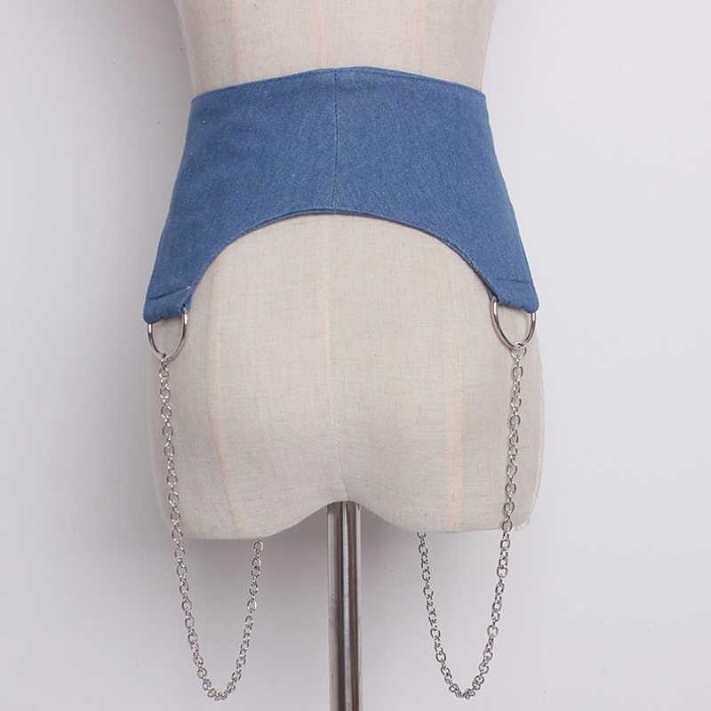 HATCYGGO النساء الدنيم حزام خصر مشد الإناث Cummerbunds سلسلة معدنية انفصال كاوبوي حزام لفستان واسع الخصر الفرقة