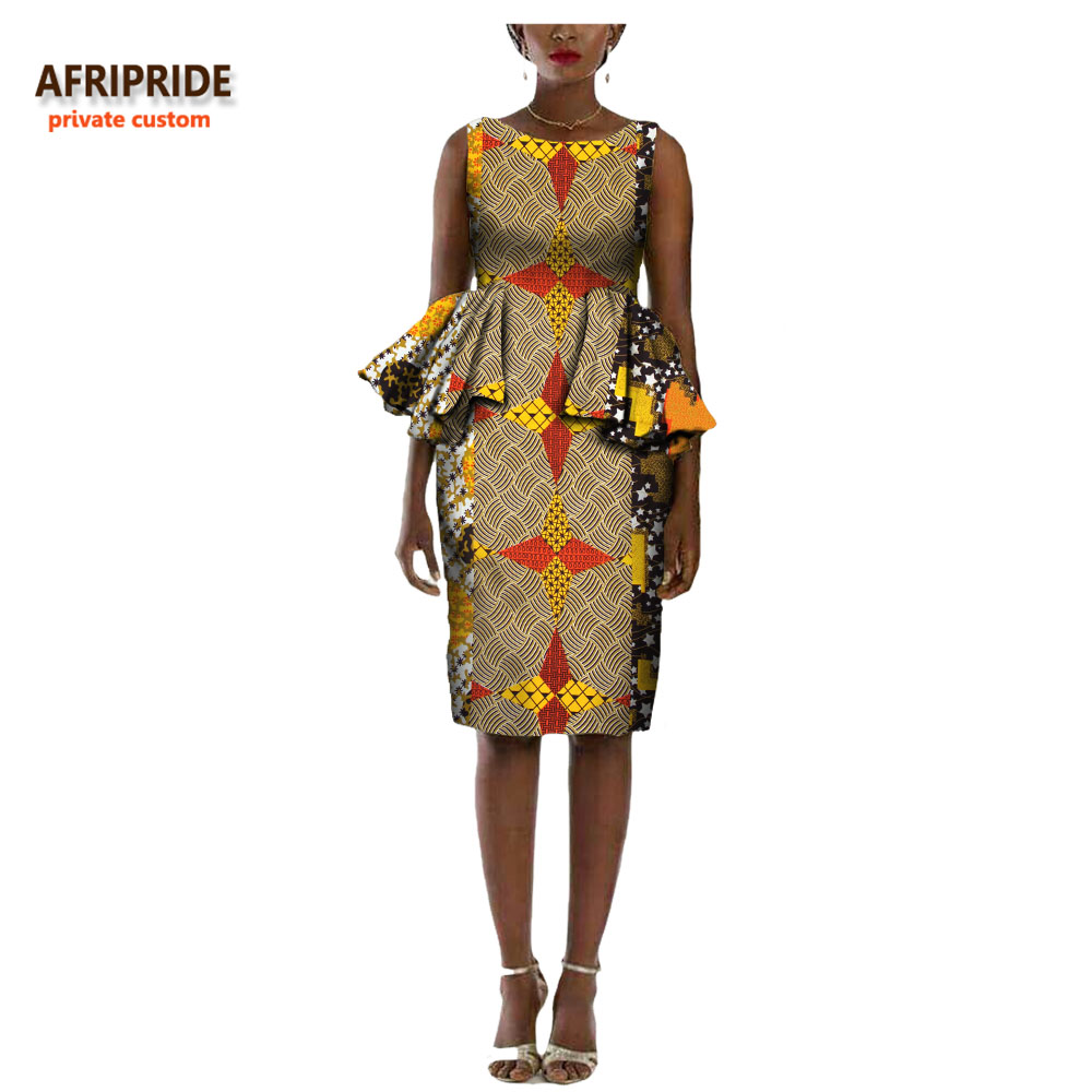 2018 african autumn women dress AFRIPRIDE sleeveless O neck Knee length straight casual cotton dress draped decoration A7225116 in Dresses from Women 39 s Clothing