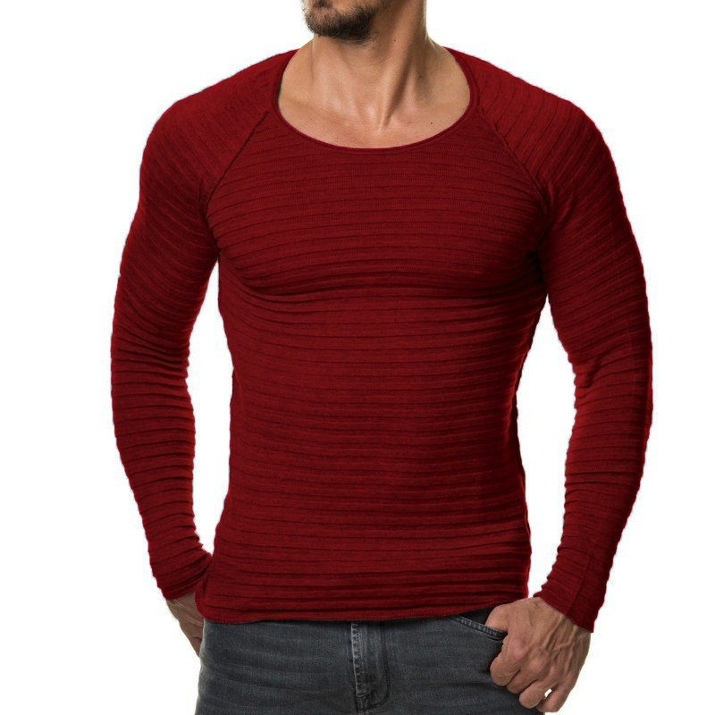 2017 New Casual t-shirt Knitted striped t shirt Fashion elasticity Solid Color Long Sleeve Slim Fit T Shirt Men Cotton T-Shirts